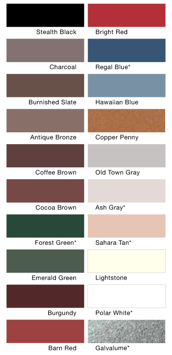 TriProvince Colour Swatches for Metal Roofs